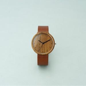 Walnut wood - Organic leather Dark Brown - L