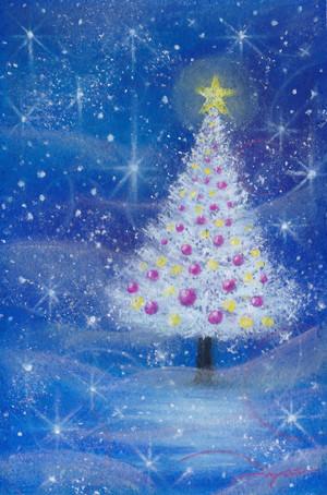 クリスマスの夜に パステル画 藤井元康