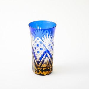 記念品に江戸切子 琥珀色瑠璃被せビールグラス