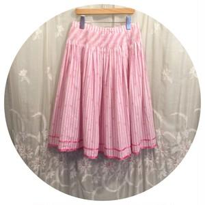 ヴィンテージ シャーリングスカート  ストライプ花柄 ピンク ひざ丈