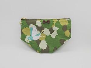 ミニポーチ♪小鳥の散歩♪グリーン