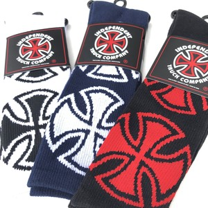INDEPENDENT CROSSES CREW SOCKS - White - Navy - Black
