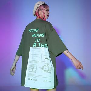 【トップス】ストリート系反射アルファベット図柄ファッションTシャツ31290957