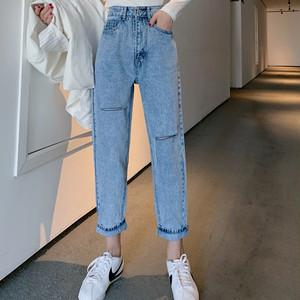 【ボトムス】無地ファッションハイウエストダメージ加工デニムパンツ25631317