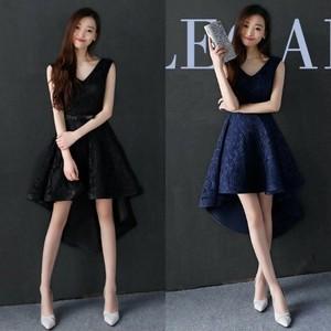 大特価 新作 黒ノースリーブリボンベルトパーティードレス 膝丈 結婚式 衣装