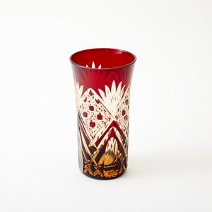 還暦祝いに江戸切子 琥珀色赤被ビールグラス
