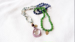 Japa mala : Crystal Quartz +Jade,Sodalite,Tree Agate