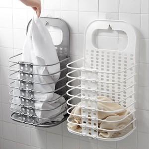 予約 折りたためるスタンド式バスケット 衣類収納ケース 吊り下げ 浮かせる収納 隙間収納 すきま収納 省スペース 収納ボックス 洗濯かご 洗濯物入れ コンパクト シンプル 持ち運び 持ち手つき ホワイト グレー cw-a-5502