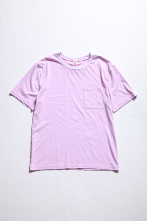 BASIC HEART POCKET T-SHIRTS-PURPLE