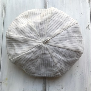 コットンベレー帽☆×ホワイト×ベージュストライプ