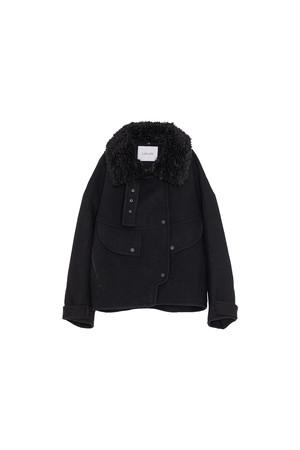 ボアカラージャケットコート< black >