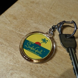 Surfer Girl round key ring