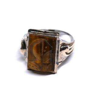 Vintage Ostby Barton Sterling Silver & 10k Gold Cameo Ring