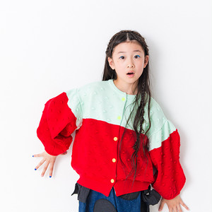 WAVE CUT SLEEVES 2TONE<BK> POPCORN KNIT CARDIGAN