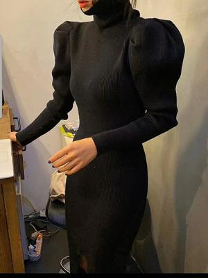 ボリュームリブワンピース ワンピース 韓国ファッション