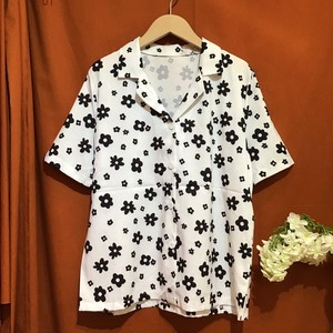 Open Collar Flower Shirt    Color : Black