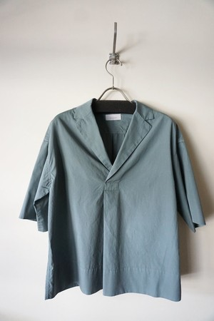 Cotton Open Collared Shirt [ Blue Gray ]