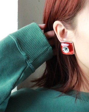 Sonia Rykiel red stone earrings
