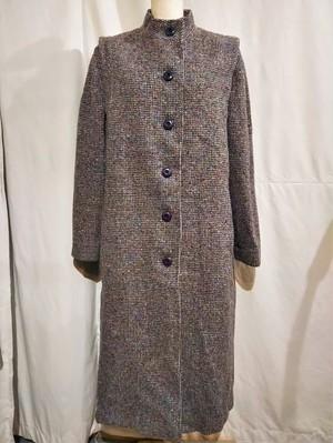 Stand collar tweed coat /Made In USA [O-428]