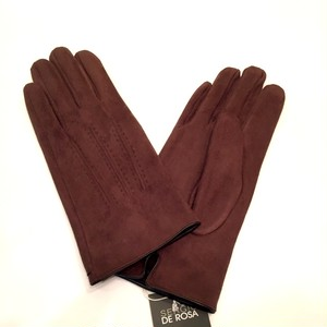 Fake-Suede Fabric Glove Brown