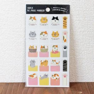 【猫柄・肉球】インデックス リページマーカー ねこ【LS00566】