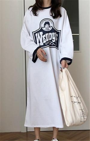 【dress】カジュアルプリント長袖ロングカジュアルワンピース12949703