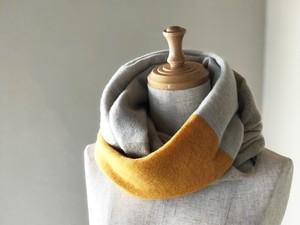 温度を纏う 純カシミヤのふわふわトライアドスヌード Musterd/L.Beige/Oatmeal