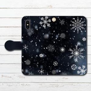 #000-039 手帳型iPhoneケース 手帳型スマホケース 全機種対応 iPhoneXS/X おしゃれ 雪 Xperia iPhone5/6/6s/7/8 セール 冬 Galaxy ARROWS AQUOS HUAWEI Zenfone タイトル:雪の結晶