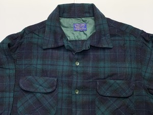 60s PENDLETON ペンドルトン USA製 ブラックウォッチ オープンカラー ウールシャツ ビンテージ L