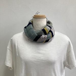 ストール  短め 縦113x横33 手織り 木綿 藍染 草木染 ハンドメイド くびもつ 結工房 日本製 LGRMSTL9