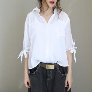 袖 リボン付き ビッグシャツ ms0001