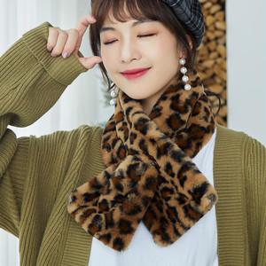 【小物】秋冬レトロクロスヒョウ柄合わせやすいスカーフ