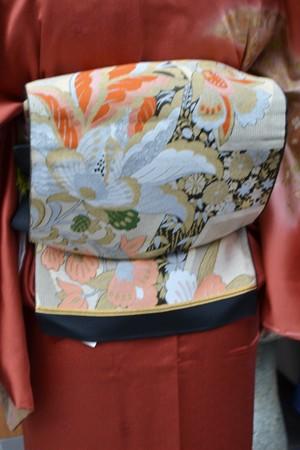 袋帯☆大輪の洋花