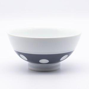 感器工房 吉田焼 副千窯 飯碗 水玉 グレー 03968