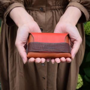 仕分けがしやすいカードケース兼名刺入れ 【red ×  brown × dark brown】