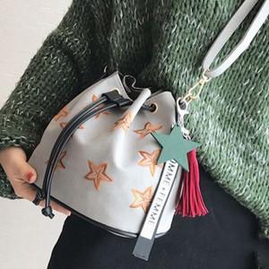 スター刺繍デザイン ストラップ付き ショルダーバッグ