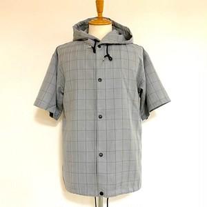 Plaid Pattern Short Sleeve Shirt Hoodie Gray