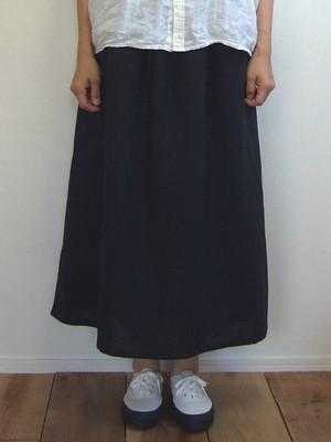 Quand クアンド リネンコットン無地スカート skirt ネイビー ロングスカート 211927570