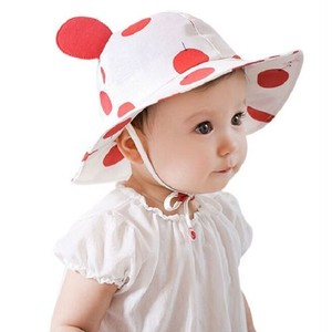 かわいい ベビー ハット 帽子 uvカット あご紐 コットン 赤ちゃん 男の子 女の子 両用 うさぎ ( レッド ) kcab179