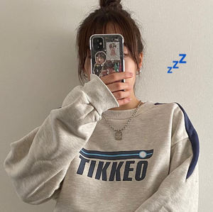 Front logo over size sweat LD0457