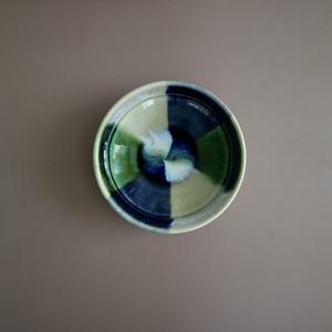 瀬戸本業窯 折縁三彩鉢(ぬり分け)青緑白 <日本製・瀬戸>