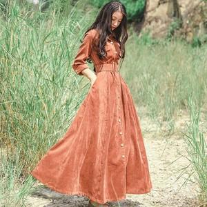 Corduroy maxi dress || コーデュロイマキシワンピース || C91003