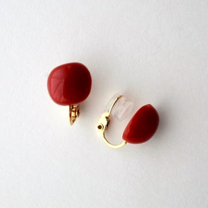 """""""Rose petals"""" Red coral clip-on earrings"""