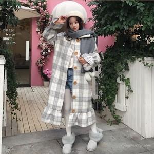 【アウター】スウィート韓国系スピーカースリーブチェック柄コート