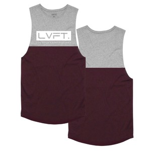 LIVE FIT Divided Tank - Heather Grey / Burgundy White