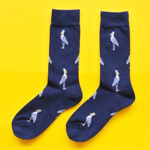 新商品《鳥/ハシビロコウ》 靴下 ハシビロコウ 23〜25cm Miita ミータ ネイビー