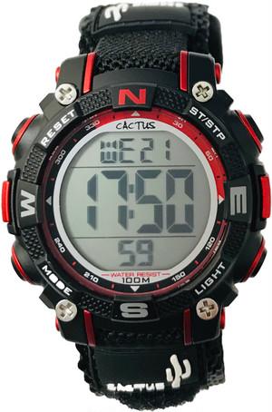 【新商品】[キッズ腕時計 ボーイズデザイン]ブラック&レッド 10気圧防水 デジタル CAC-104-M01