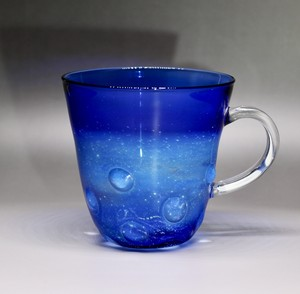 glass 銀河水玉マグカップ blue