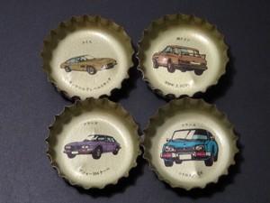 昭和コレクション コカ・コーラ ジュース瓶の蓋 王冠 スーパーカー クラシックカー ヨーロッパ車 当時物 4個セット 駄菓子屋玩具
