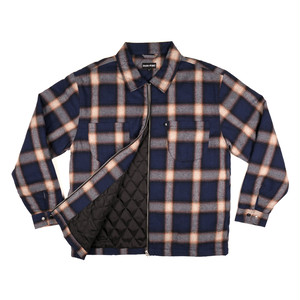 PASS PORT / QUUILTED ZIP UP FLANNEL JACLET -NAVY-